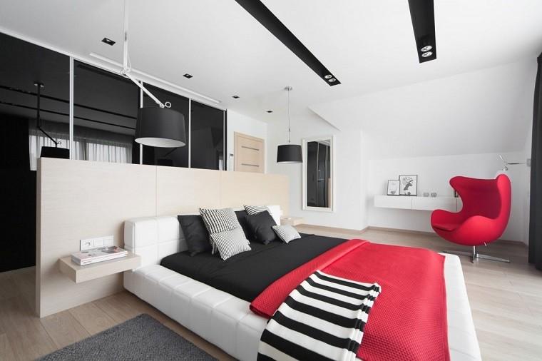 cabeceros originales cama dormitorio moderno sillon rojo ideas