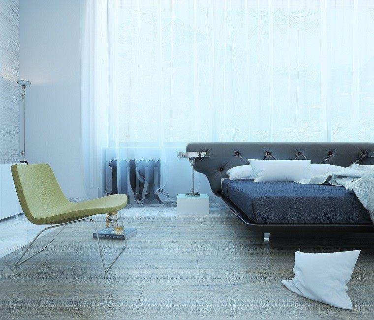 cabeceros originales cama dormitorio moderno sillon verde ideas