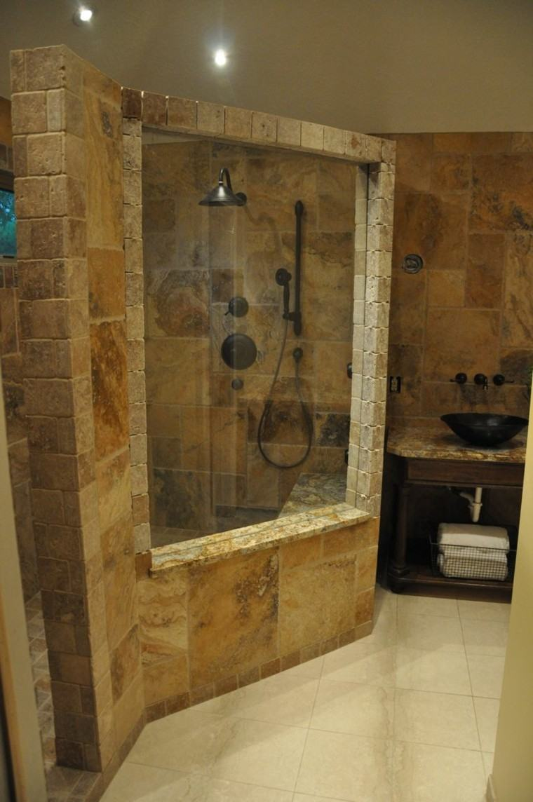 Cuartos de ba o rusticos 50 ideas con madera y piedra for Small 4 piece bathroom designs
