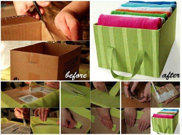 caja carton forrada tela verde