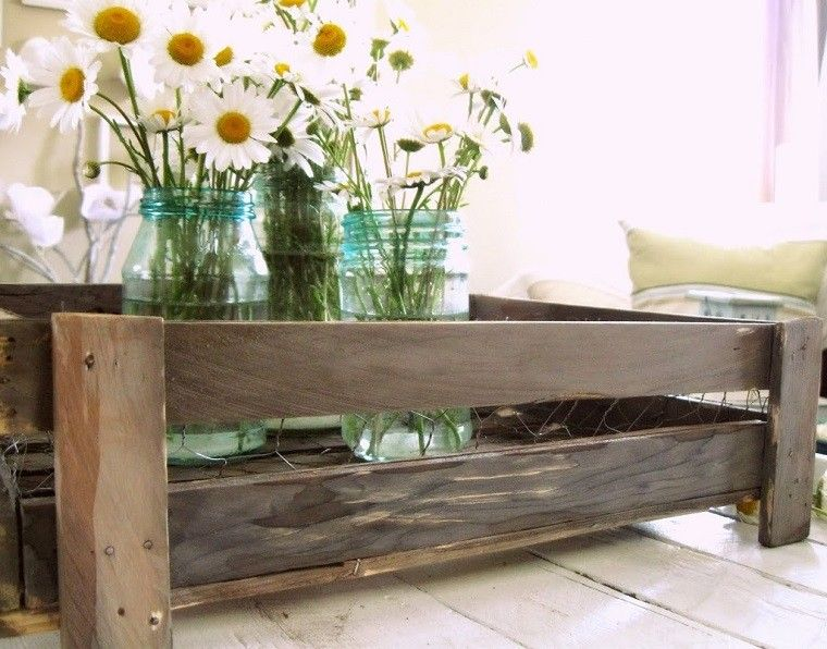 caja madera decorativa flores