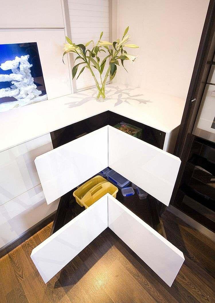 cajones esquineros blancos cocina elegante encimera blanca ideas