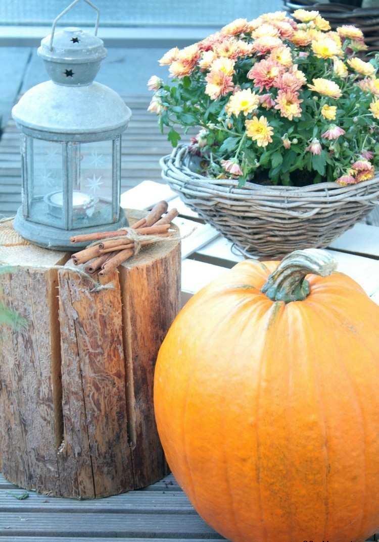 calabaza flores deco madera otoño