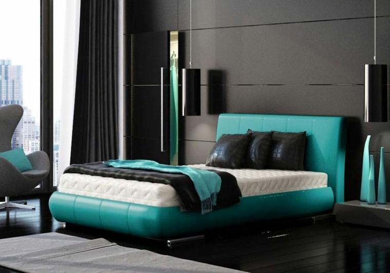 cama color-aguamarina pared negro