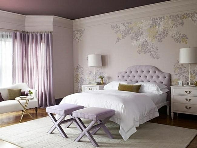 cama color lila cabecero capitone
