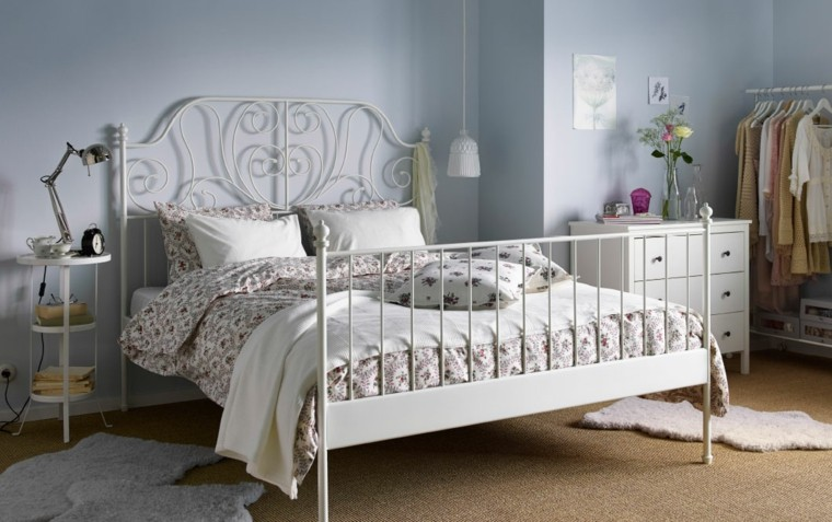 cama ikea blanca metal