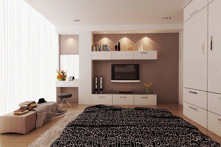 cama negro blanco diseño led