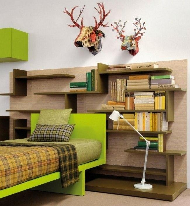 cama verde mueble madera habitaciones infantiles