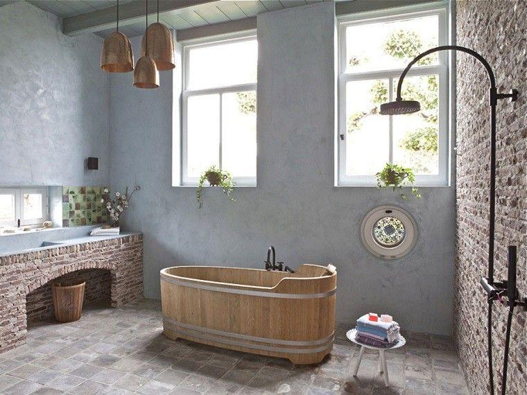 baños rusticos diseño madera luminoso