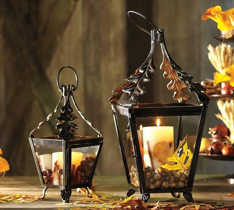 candelabros acero negro velas hojas secas arbol decorativas ideas