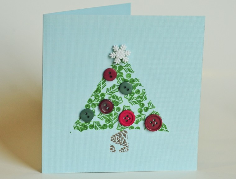 carta navidad saludo cartulina botones