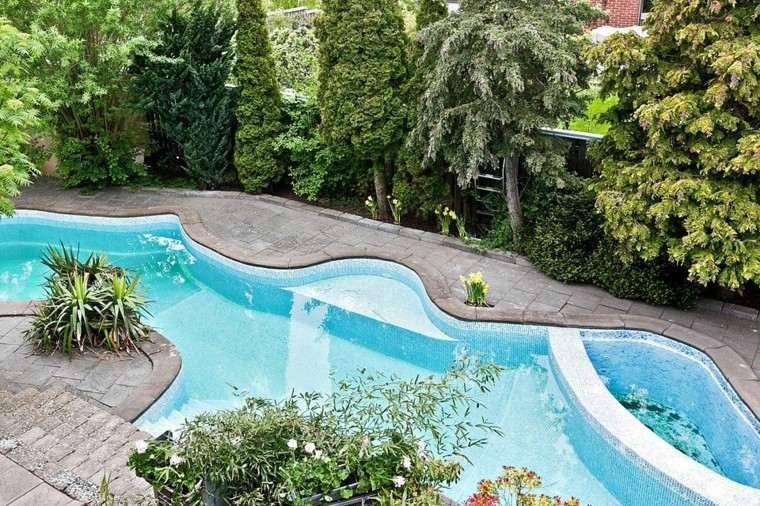 casa suelo losas piscina forma preciosa ideas