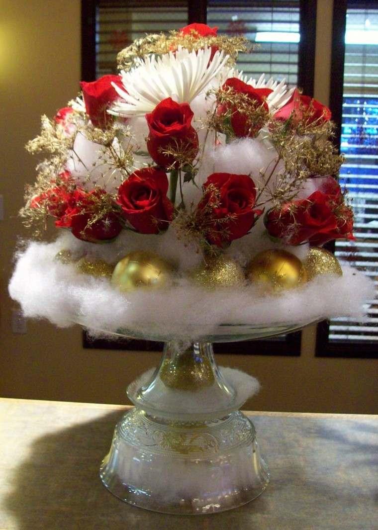 centro mesa algodon rosas rojas
