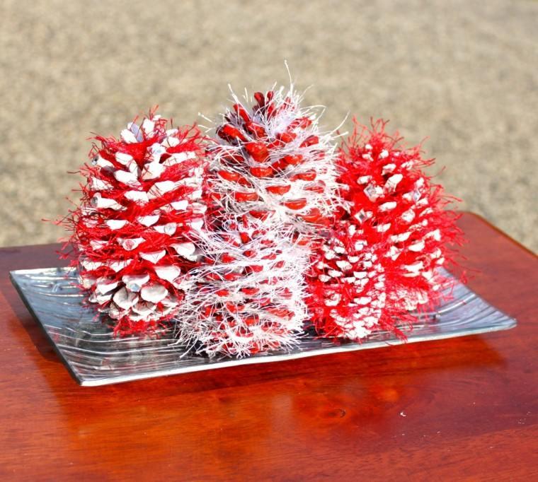 centro mesa decorativo rojo blanco