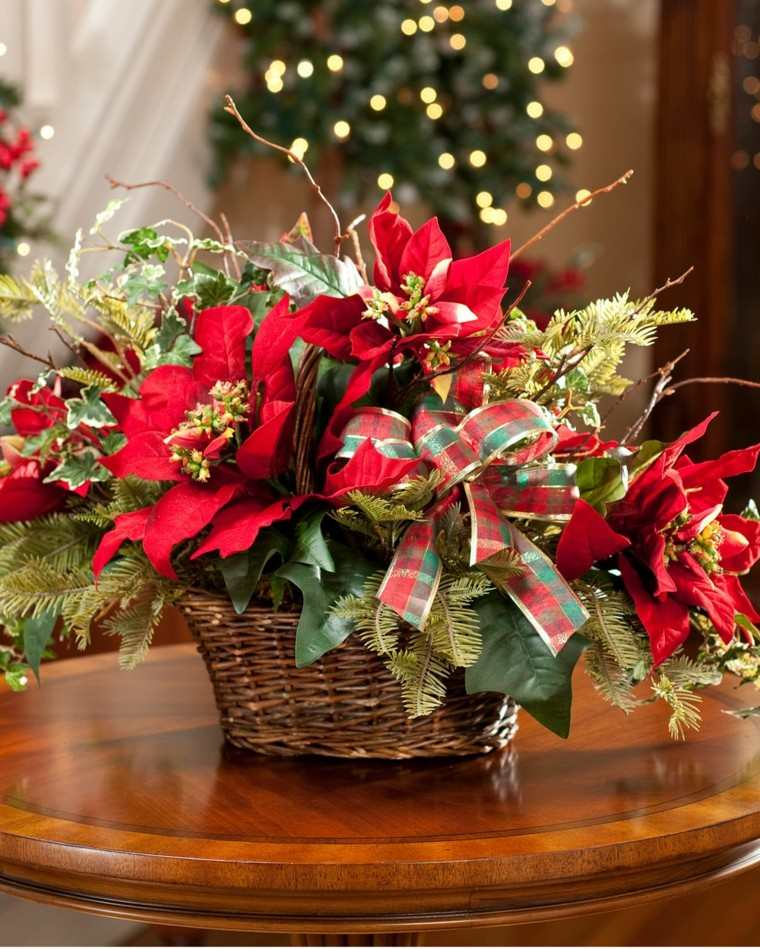 centro mesa flores rojas navidad