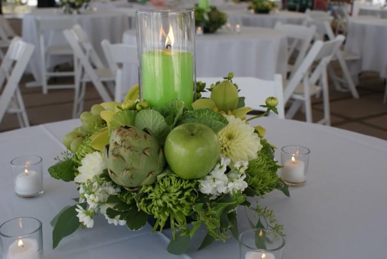 centro mesa manzana verde alcachofa