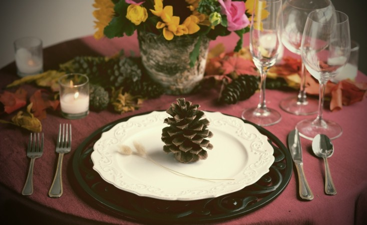Calabaza y pi as de pino como decoraci n de oto o - Centros de mesa con pinas ...