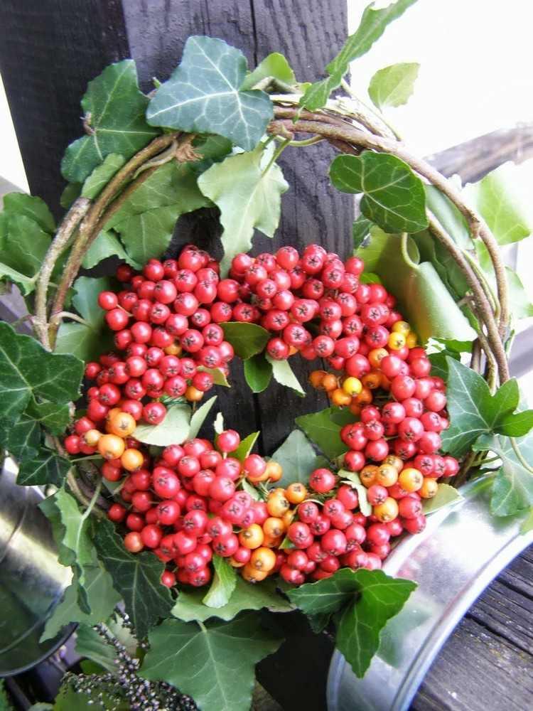 basket wreath red berries autumn