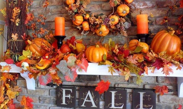 chimenea calavazas velas hojas secas arbol decorativas ideas