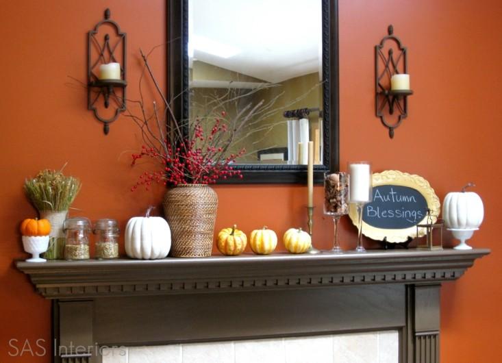 chimenea decorada pared color naranja