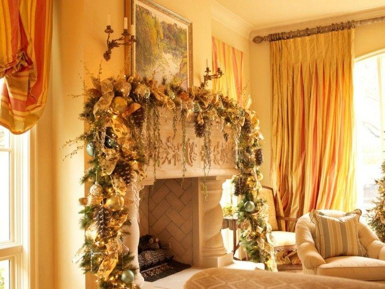 chimenea elegante amarillo zona cortinas