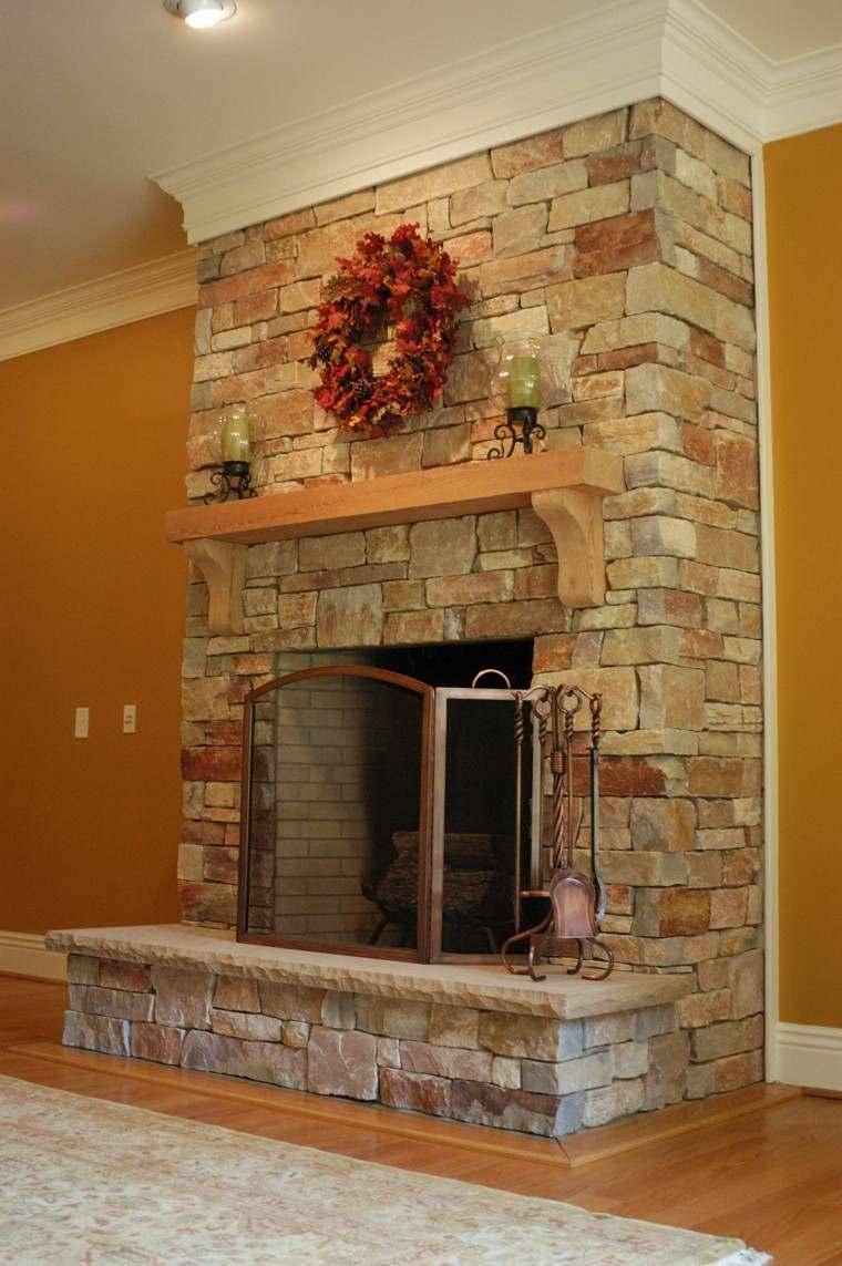 chimeneas diseño rustico bloques madera corona