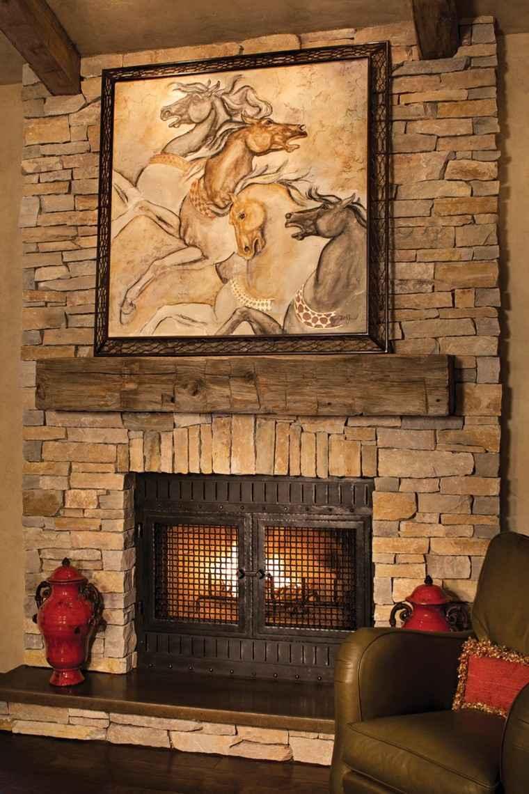 Dark Stone Fireplace Decor