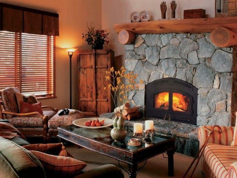 chimeneas diseño rustico calido madera lamparas