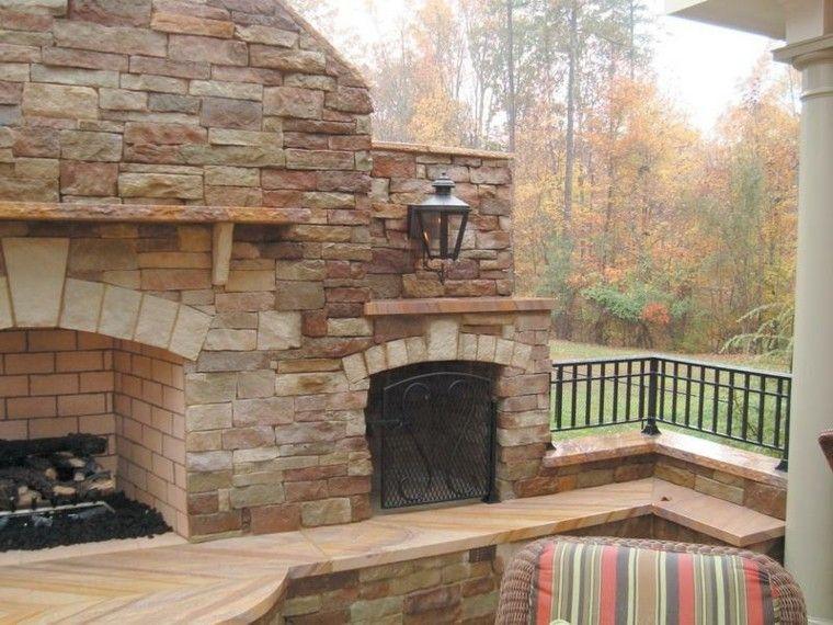 chimeneas diseño rustico madera exterior lampara