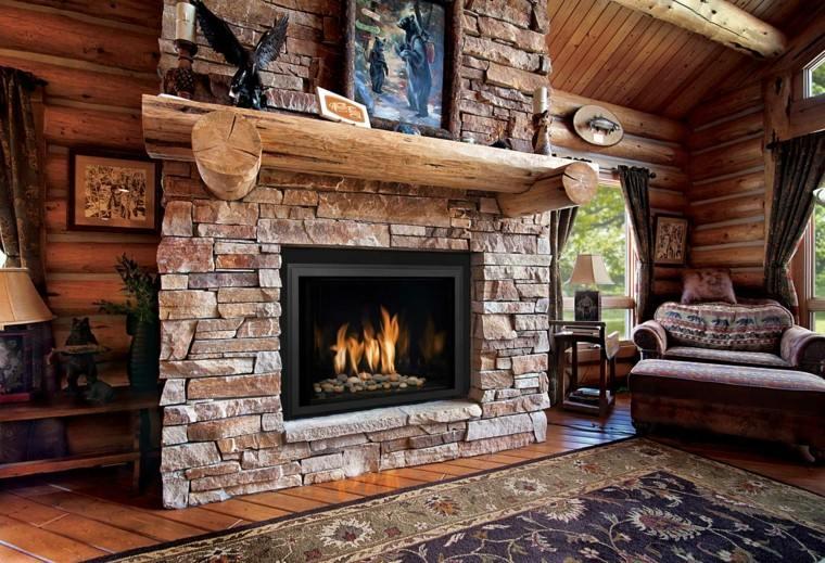 chimeneas diseño rustico moderna casa