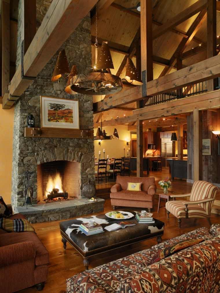 chimeneas diseño rustico piedras cabaña confortable