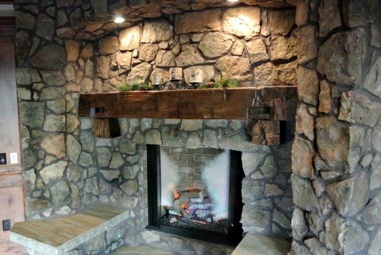 chimeneas diseño rustico rocas seleccion luces