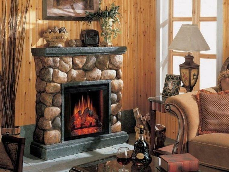 chimeneas diseño rustico salon maderas plantas