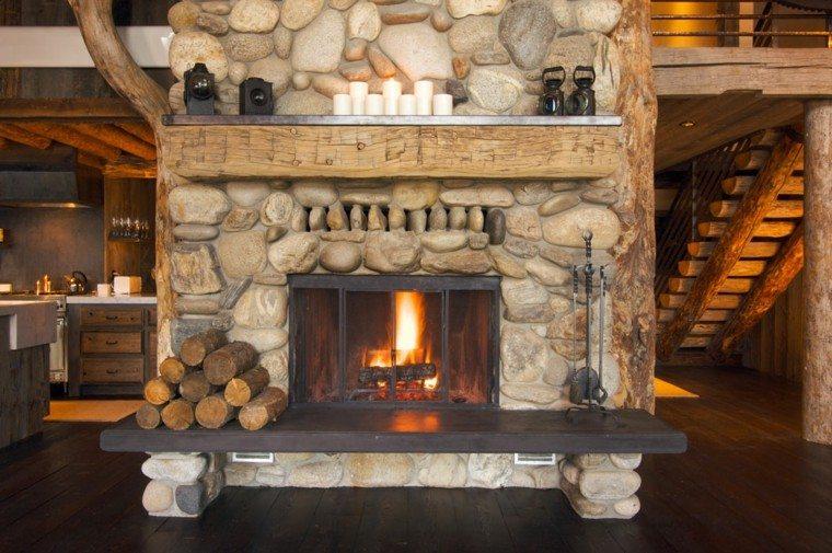 chimeneas diseo rustico troncos velas fuego - Chimeneas Diseo