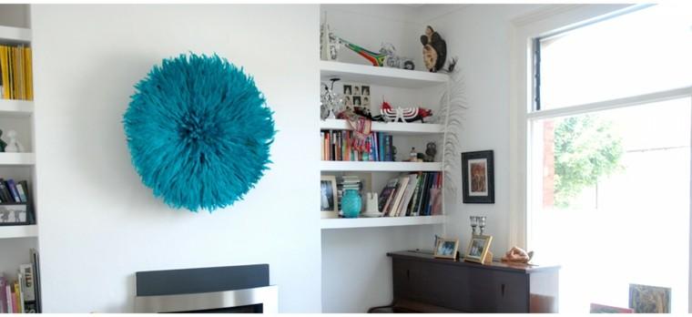 circulo pluma azul tocado turquesa