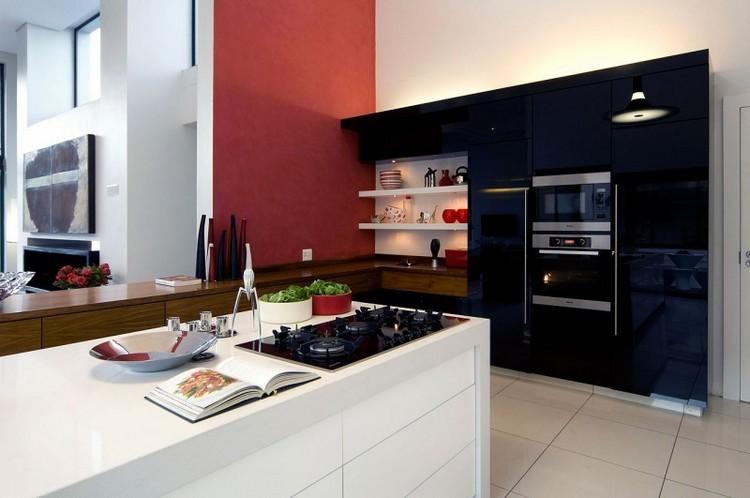 cocina color blanco negro rojo