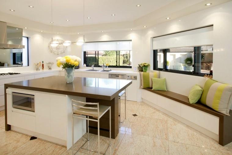 diseño cocina moderna cojines verdes