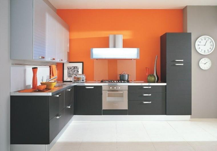 cocinas pintadas pared naranja