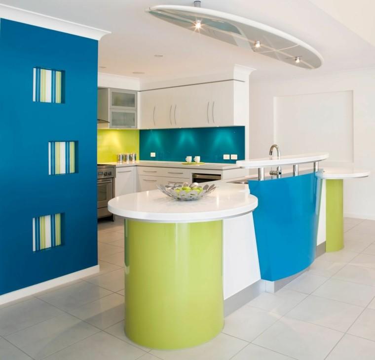 Cocinas pintadas con los colores de moda 50 ideas - Cocinas exteriores modernas ...