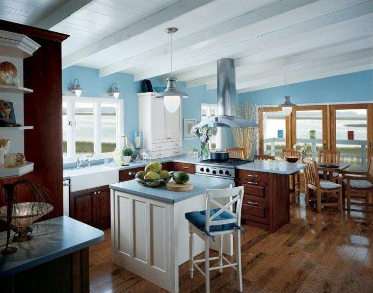 cocina moderna pintura color celeste