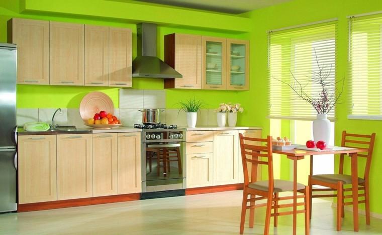 cocina verde diseño moderno