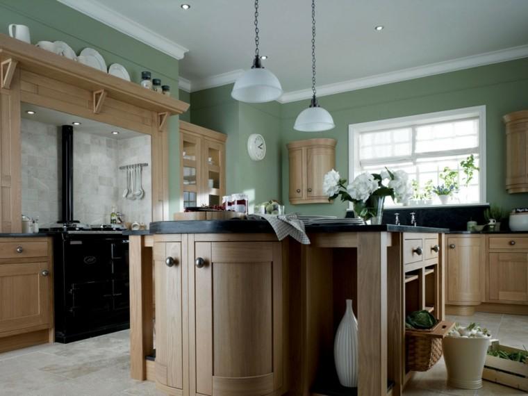cocina color verde muebles madera