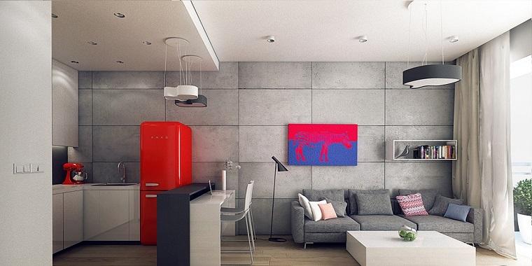 cocina abierta salon moderno acento rojo taburetes altos ideas with taburetes para cocina americana