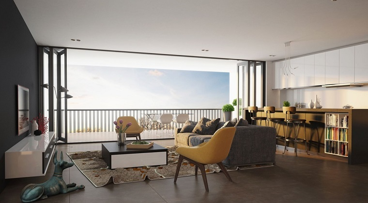 dise o cocinas abiertas al sal n pr cticas y funcionales. Black Bedroom Furniture Sets. Home Design Ideas