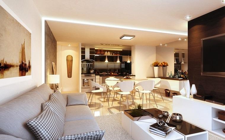 cocina abierta salon moderno decoracio interiores original ideas