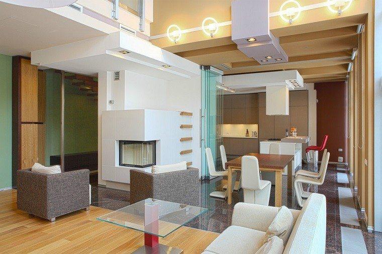 Dise o cocinas abiertas al sal n pr cticas y funcionales - Cocina salon separados cristal ...