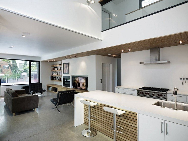 Dise o cocinas abiertas al sal n pr cticas y funcionales for Decorar salon cocina
