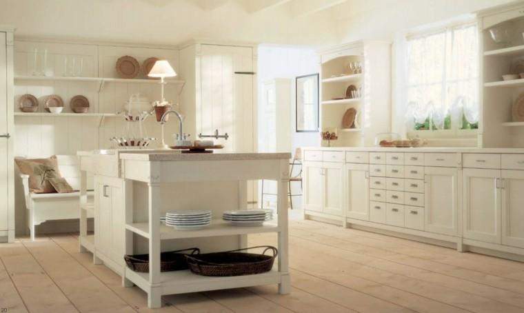 cocina clasica armarios blancos estantes decoracion ideas - Cocinas Clasicas Blancas