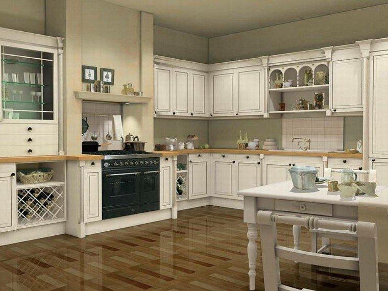 cocina clasica estufa negra amplia mesa comida ideas
