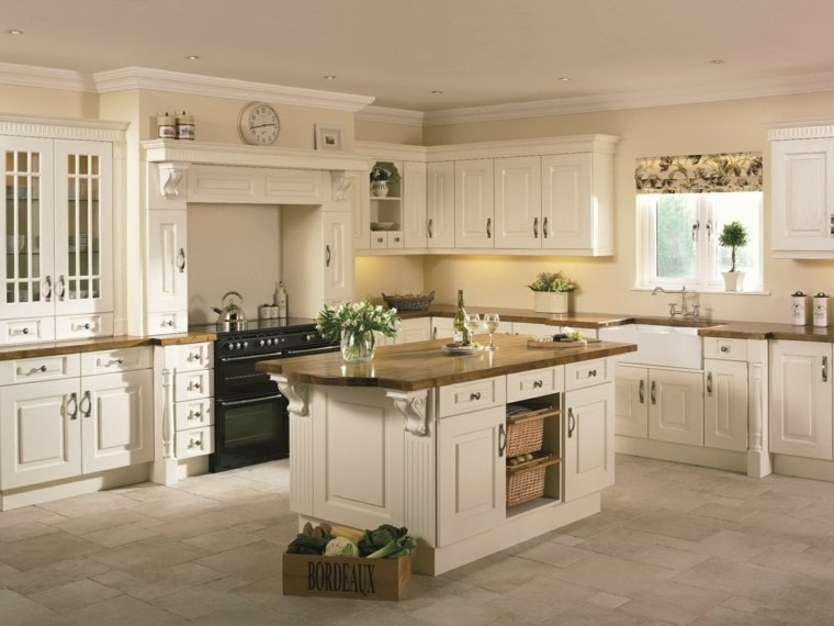 cocina clasica isla muebles madera blanca ideas